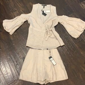 BCBG Wrap blouse with Matching pleated shorts
